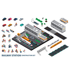 Railway station isometric constructor vector