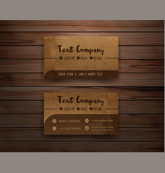 recycled paper business cards on wooden background vector image