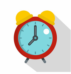 Red alarm clock icon flat style vector