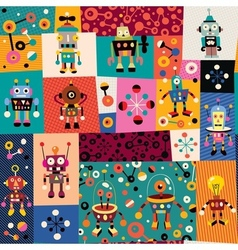 Robots pattern 2 vector