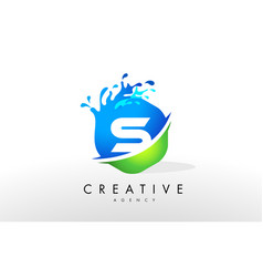 s letter logo blue green splash design vector image