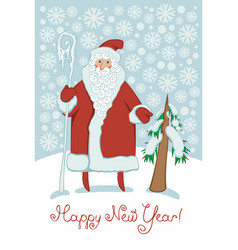 Santa claus with magic stick and christmas tree vector