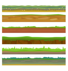 seamless different grounds soils and land set vector image