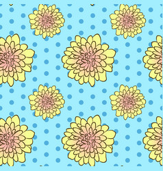 Seamless floral pattern with yellow aster flowers vector