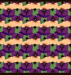 Seamless pattern with pansies on a dark background vector