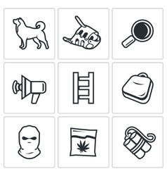 Search dog and crime icons set vector image