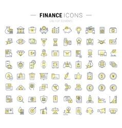 Set Flat Line Icons Finance vector image