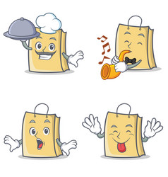 set of bag character with chef trumpet tongue out vector image