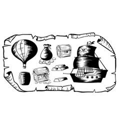 ships and treasure map elements vector image