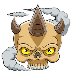 skull head with horn cartoon character vector image