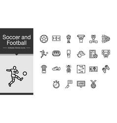 soccer and football icons modern line design for vector image
