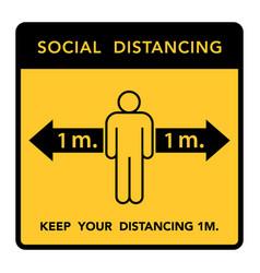 Social distancing banner keep 1 meter vector