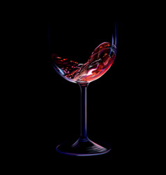 Splash red wine in a glass isolated on a black vector