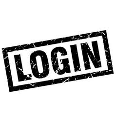 square grunge black login stamp vector image