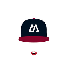 stylish girl with red lips in baseball cap women vector image