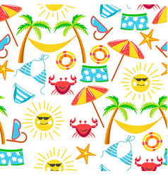 summer holidays tropical flora and fauna vector image