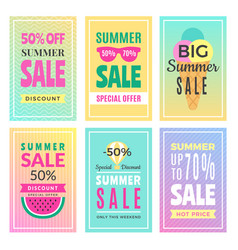 summer sale cards design template of various vector image