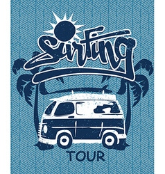 Surfing tour van print on a bamboo background vector