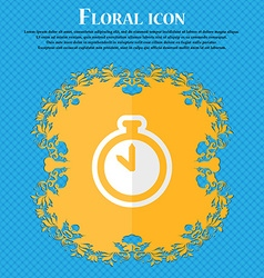 The stopwatch Floral flat design on a blue vector image