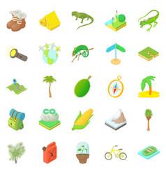 Tourist icons set cartoon style vector