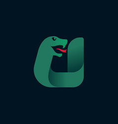 U letter logo with snake head silhouette vector