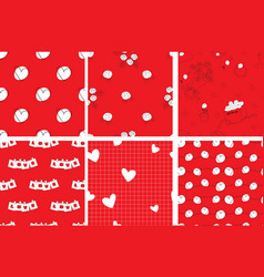 valentine doodle seamless pattern on red vector image