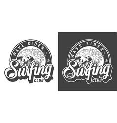 vintage monochrome surfing club emblem vector image