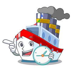 With clock aerial in cartoon cargo ship view vector