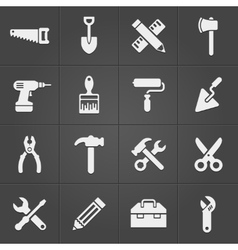 Working instrument tool icons on black vector image