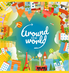 world famous signts silhouettes around world vector image