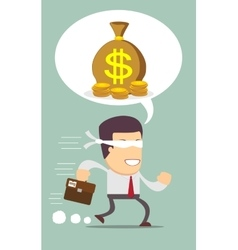 Blindfolded businessman running to find money vector image