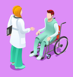 clinic doctor talking with patient isometric vector image