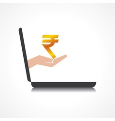 hand holding rupee symbol comes from laptop screen vector image vector image