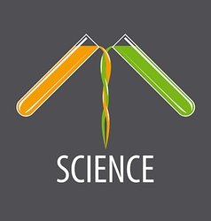 logo two beakers with liquids vector image