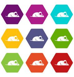 Pet mouse icon set color hexahedron vector