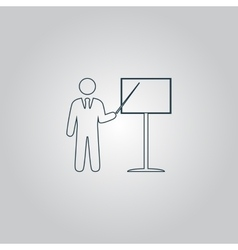 Presentation sign icon Man standing with pointer vector image vector image