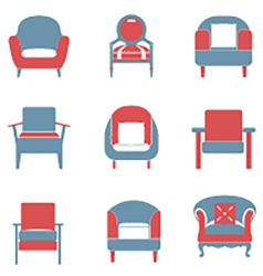 Sofas Icons Set Duotone vector image vector image