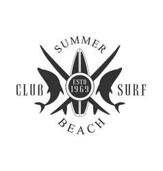 Summer beach surf club logo template black and vector
