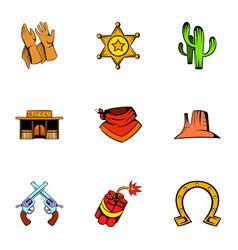texas icons set cartoon style vector image vector image
