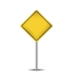 yellow blank road sign vector image vector image