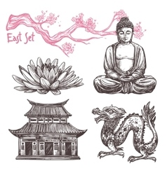 Asian Sketch Set vector image vector image