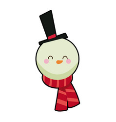 cute face snowman with hat and scarf vector image vector image