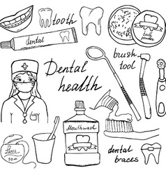 Dental health doodles icons set Hand drawn sketch vector image