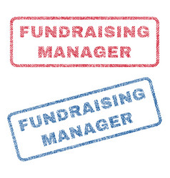 Fundraising manager textile stamps vector