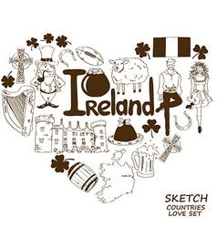 Heart shape concept of Irish symbols vector image vector image