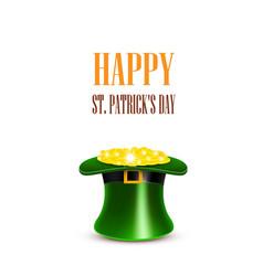 leprechaun hat filled with gold saint patricks vector image