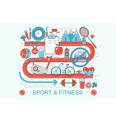 Modern Flat thin Line design healthy fitness and vector image