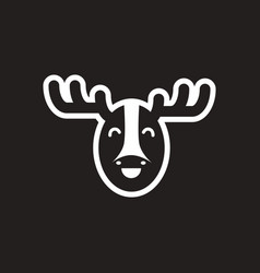 stylish black and white icon canadian moose vector image vector image