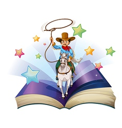 An open book with an image of a cowboy riding on a vector image vector image