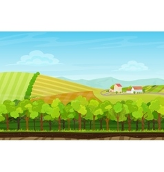 Cartoon landscape with forest wood mountains and vector image vector image